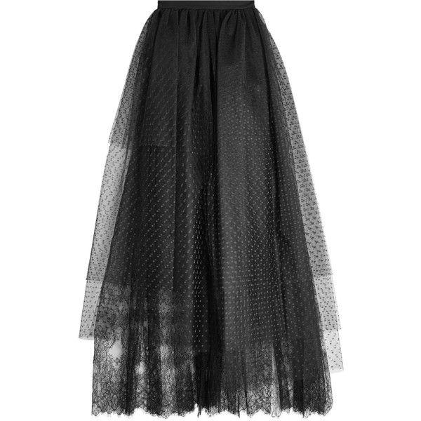 Elie Saab Tulle Skirt (€1.629) ❤ liked on Polyvore featuring skirts, bottoms, black, tulle skirts, knee length tulle skirt, elie saab, textured skirt and anchor skirt