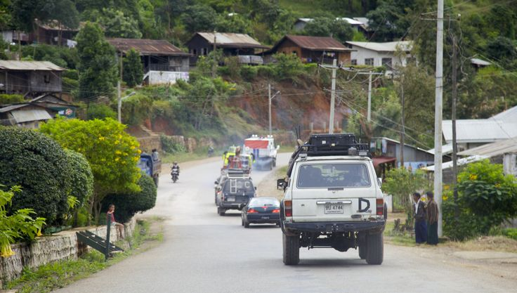 Taunggyi,Shan State - Top Gear Special Burma - convoy driving through the Shan State