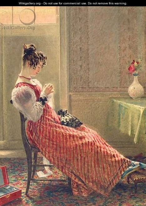 Lady Sewing by William Henry Hunt