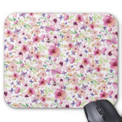 Flow London Floral Mousepad Mousemat Mouse Pad Zazzle Com Cyo Floral Floral Watercolor Mat Paper