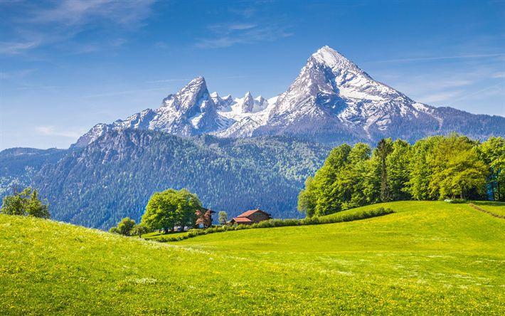 Herunterladen Hintergrundbild Berchtesgadener Alpen 4k Berge Sommer Alpen Deutschland