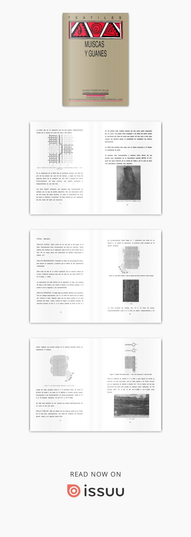 Textiles de las culturas Muisca y Guane  Título: Textiles de las culturas Muisca y Guane. Autor: Tavera de Téllez, Gladys; Urbina Caicedo, Carmen. Responsabilidad: Gladys Tavera de Tréllez,  Número de clasificación: 746.982/T233t Lugar de publicación: Quito Editorial: Universidad de los Andes [CO] : IADAP Fecha de publicación: 1994