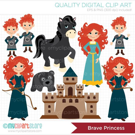 The Brave Girl / Princess Clip Art / Digital Clipart - Instant Download via Etsy