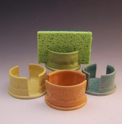 These handy ceramic sponge holders let your sponge dry, keeping it from getting all yucky. They look pretty too!