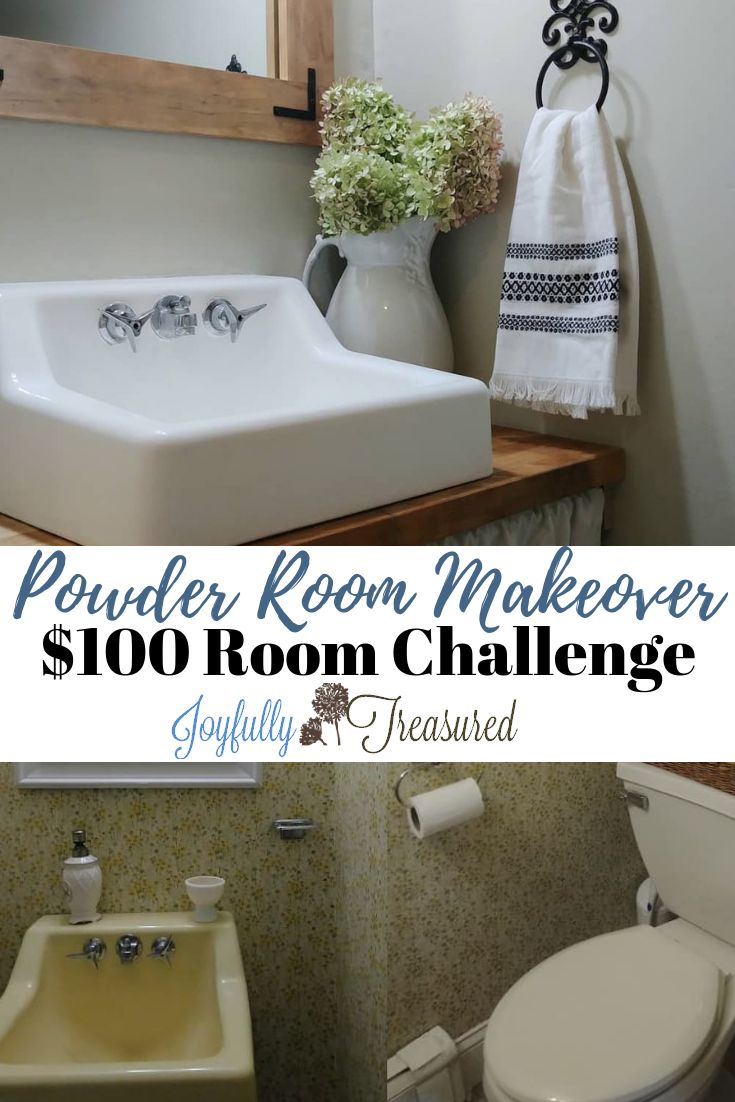 Farmhouse Powder Room Makeover, $100 Room Challenge