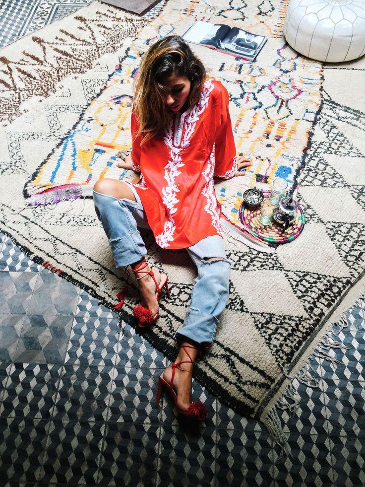 Tafalkayt Embroidered Cotton Mini Kaftan via bakchic |  Women's Boho Clothing
