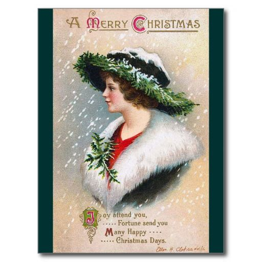 """Surprise your family and friends with a charming vintage Christmas card, illustrated by the American illustrator/commercial artist Ellen Hattie Clapsaddle in the late 19th and early 20th centuries. Today she is recognized as the most prolific souvenir/postcard and greeting card artist of her era. <br /><br /> <a href="""" http://vintagechest.net"""" target=""""_blank"""">Don't miss to visit the our blog!</a> <br /><br /> <a href="""" http://vintagechest.net"""" target=""""_blank"""">Besuch doch mal unser Blog!</a…"""