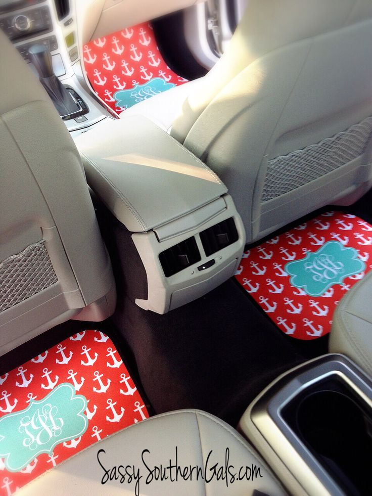 Monogrammed Car Mats, choose from 50+ designs and colors on www.SassySouthernGals.com ~ Monogrammed Gifts & Accessories