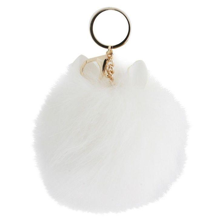 Women's Keyring Ears Pom Pom - Gold/White