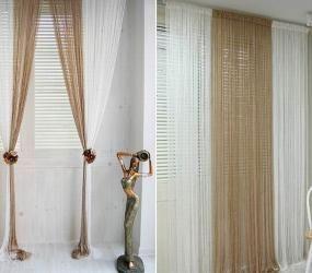 Бежево-белые шторы