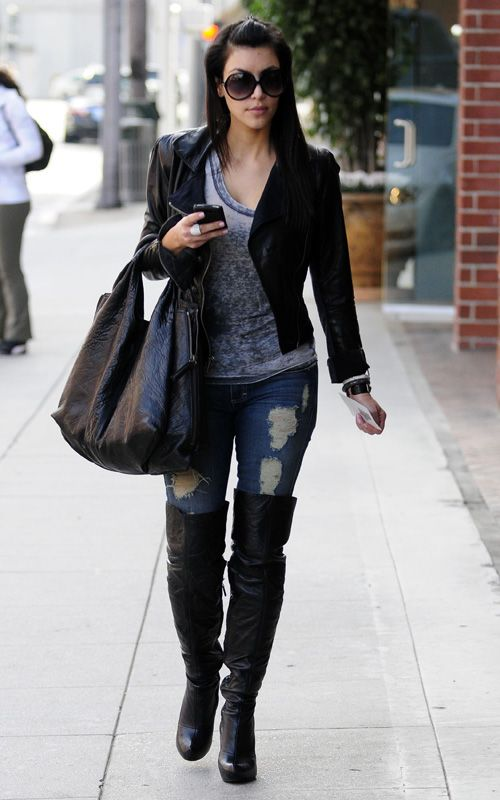 Kim K in black and denim