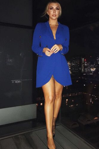 Royal Blue Button Detail Blazer Dress - Kayleigh