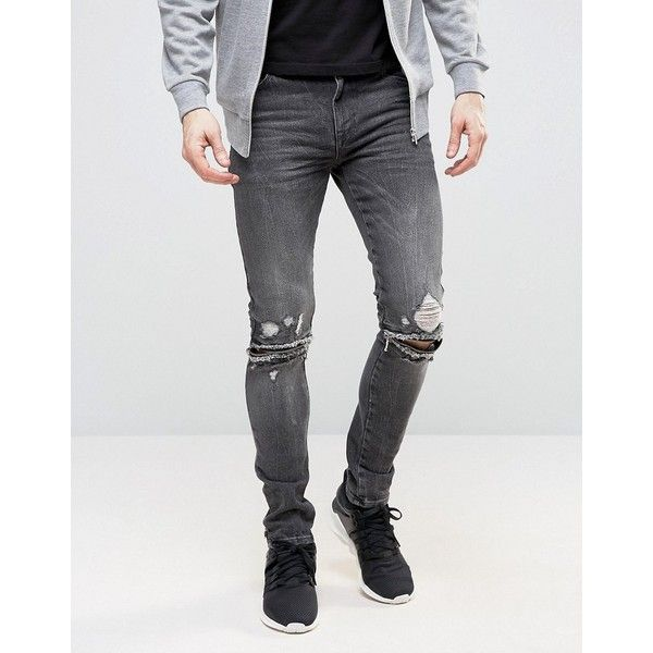 ASOS Super Skinny Jeans With Knee Zip Rips In Washed Black (£44) ❤ liked on Polyvore featuring men's fashion, men's clothing, men's jeans, black, mens zipper jeans, mens ripped skinny jeans, mens super skinny jeans, mens skinny jeans and asos mens jeans