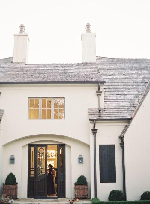 White House Gray Shutters Black Roof