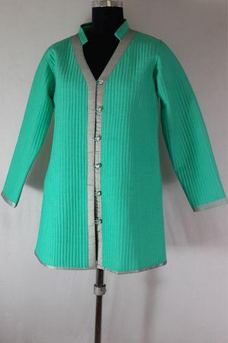 Designer Quilted Green Silk Jacket.