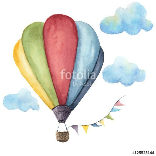 Watercolor Hot Air Balloon Set Hand Drawn Vintage Air Balloons