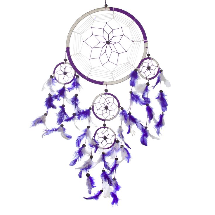 """Dream Catcher ~ Handmade Traditional Purple & White 8.5"""" Diameter & 24"""" Long! The Native American dream catcher bedroom decor was intended to protect the sleeping individual from negative dreams, while letting positive dreams through."""