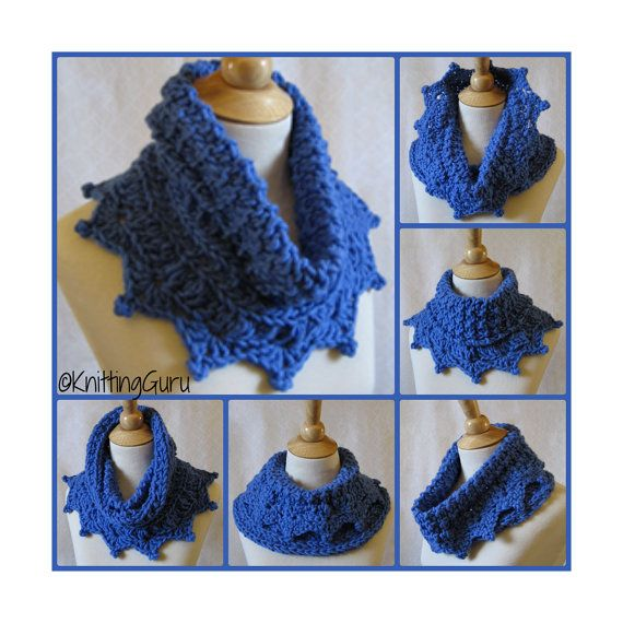 Crocheted and Knitting Cobalt Blue Alpaca Cowl Capelet by KnittingGuru. This could easily be all crocheted, but I love the drape of knitted fabric as much as I love the texture of crocheted lace, so I often include both techniques in the same piece.