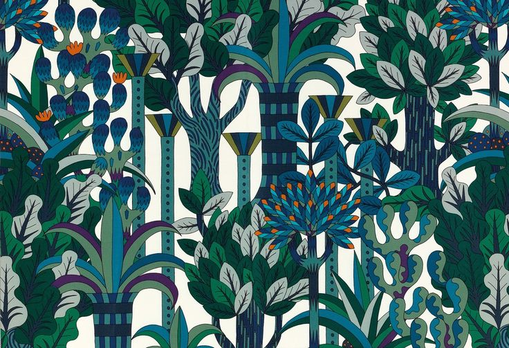 Jardin d'Osier pattern, inspired by an Indian garden with its flowers, shrubs and fountains, by Hermès