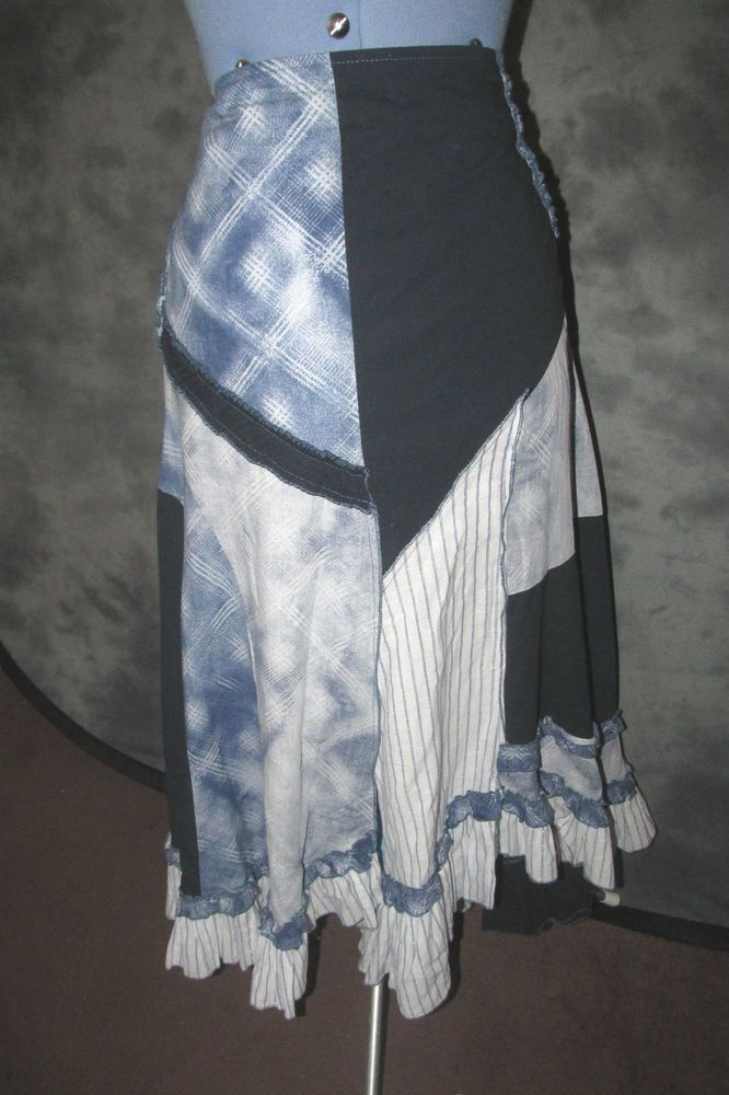 Lisa Campione,ladies,size 18,blue,+white,calf length,flared,casual.Skirt.