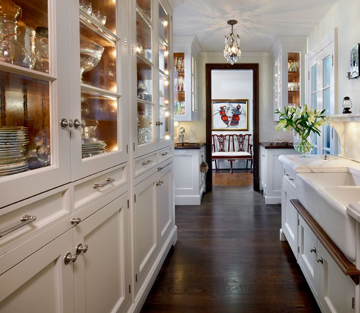 Galley Kitchen Flooring Ideas: Galley Kitchen, Floor To Ceiling China Cabinets, Dual Farmhouse Sinks, Beveled
