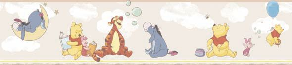 Pooh and Friends Pale Beige border by Galerie 17 font