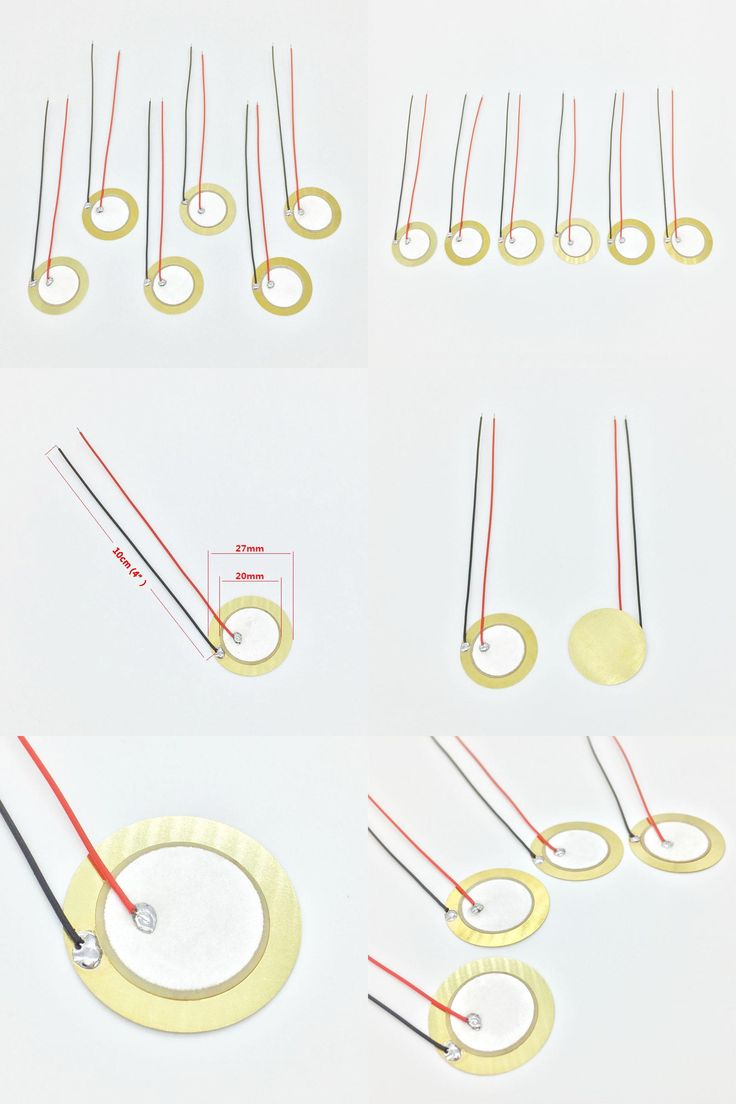 """[Visit to Buy] 6 pieces 20mm / 27mm Pickup Piezo Disc Elements with 10cm (4"""") Leads Cigar Box Guitar Pickup Repair Luthier Tool #Advertisement"""