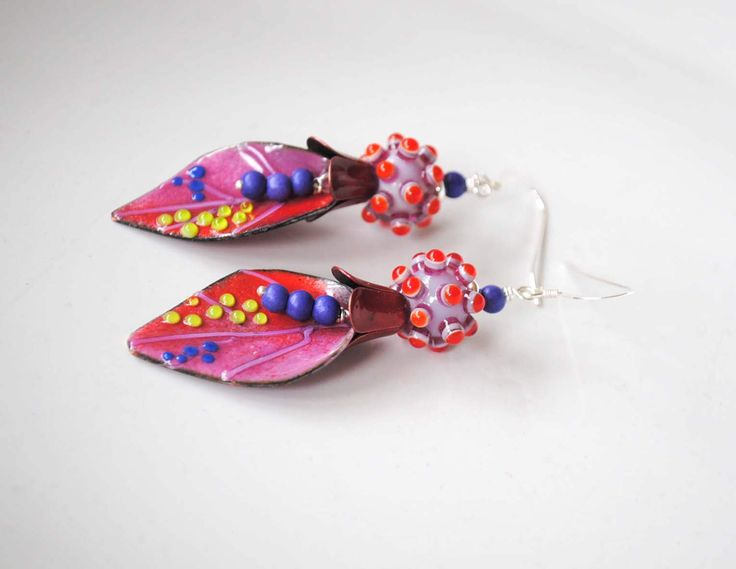 Funky Leaf Earrings, Enamel Earrings, Lampwork Earrings, Polka Dot Earrings, Colorful Earrings, Modern Chic Earrings, Boho Hippie Earrings by bstrung on Etsy https://www.etsy.com/listing/520654557/funky-leaf-earrings-enamel-earrings