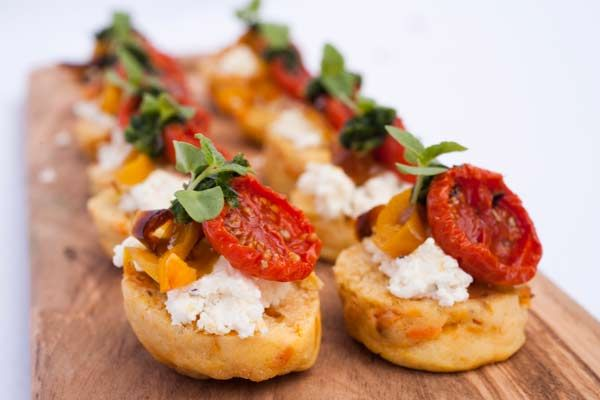 Sweet Potato Scones with Fresh Goat's Cheese, Slow-Roasted Saffron Tomatoes & Caramelised Yellow Peppers