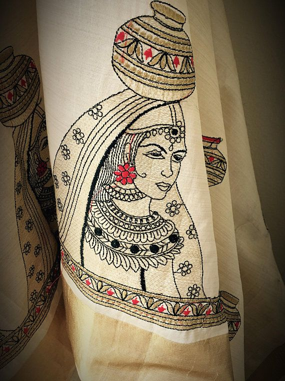 Tussar silk embroidered saree with gold border