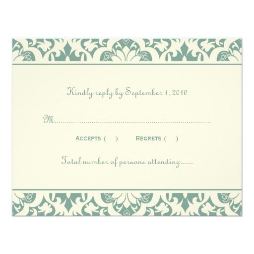 Wedding Response Card | Ornamental Damask Personalized Announcement