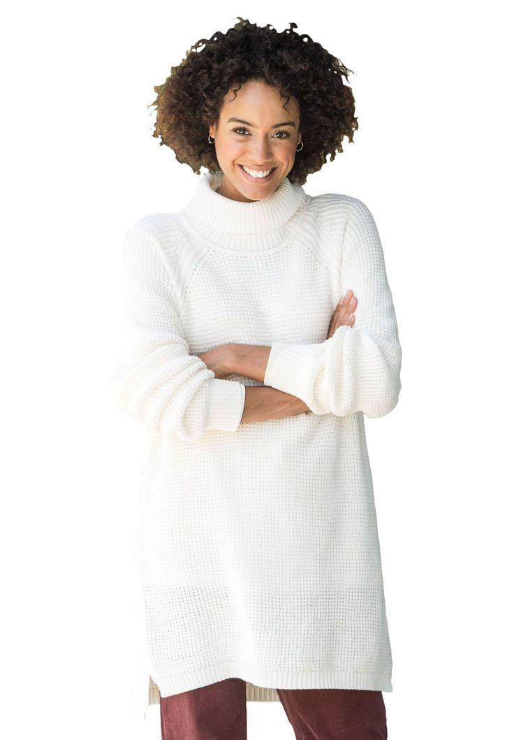 """It's the perfect layering piece. Our plus size waffle knit turtleneck sweater arrives in 11 exclusive colors. Casual comfort has never been so easy, or vivid. comfortable, relaxed fit28"""" length falls just below the hipsturtleneck collarlong raglan sleeveshigh/low hem with hem slitssoft, washable cotton/acrylicimported Women's plus size sweater in sizes  M(14W-16W), L(18W-20W), 1X(22W-24W), 2X(26W-28W), 3X(30W-32W), 4X(34W-36W), 5X(38W-40W) The Comfort FactorOur styles are designed wit..."