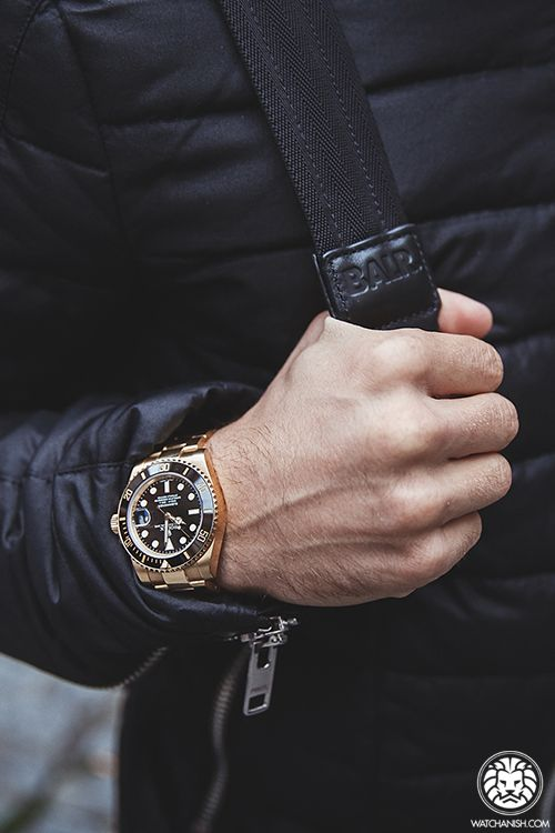 Style rolex watch in black and gold. #MensFashion