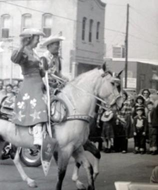 Roy Rogers and Dale Evans wave to the crowd during the Houston Fat Stock Show and Rodeo Parade in February , 1956,,,  Photo from I Love Texas