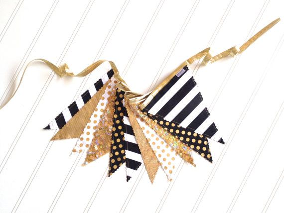 Metallic Gold Black and White Fabric Banner by pearlandjane