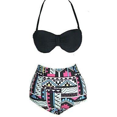 De las mujeres de cintura alta Vintage Geomatric patrón Bikini Set  – USD $ 27.29