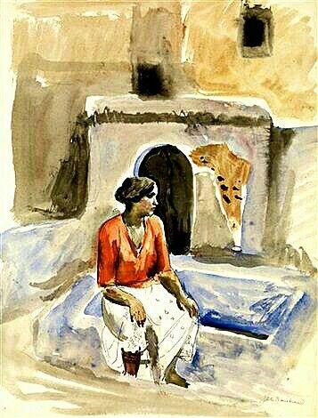 Peinture d'Algérie : Peintre Français, Etienne Bouchaud,(1898–1989), Aquarelle, Titre : Jeune mauresque assise.