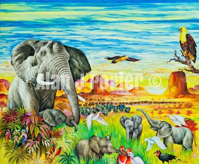 #alanjporterart #kompas #art #animals #elephants #birds #eagle #africa #sky #nature #originaldesign #oil #beautifulcolors