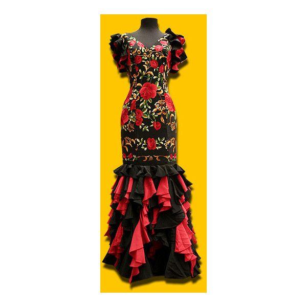 Traje de mantón (negro y rojo), Traje de flamenca/ Flamenco costume (€590) found on Polyvore