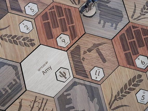 Custom Catan Set Deluxe Wood White Oak With Insets Laser Cut