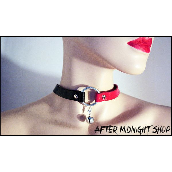 Harley Quinn black red leather choker collar necklace bell o ring... ($19) ❤ liked on Polyvore featuring jewelry, necklaces, choker necklace, studded choker, goth choker, studded choker necklace and goth necklace