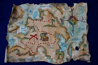 Play Pirate Map on Canvas from Pink and Green Mama Blog