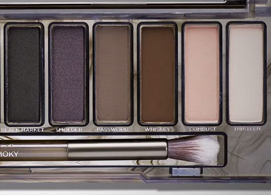 Urban Decay Naked Smoky Palette (second half) L to R: Black Market, Smolder, Password,Whiskey, Combust, and Thirteen.