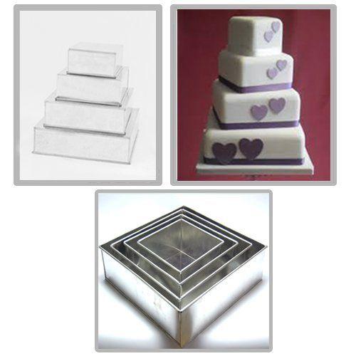 4 Tier Square Multilayer Wedding Birthday Anniversary Bak...