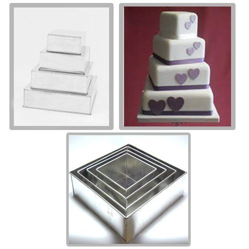 4 Tier Square Multilayer Wedding Birthday Anniversary Baking Cake Tins Cake Pans 6' 8' 10' 12' - EUROTINS -- Read more  at the image link.