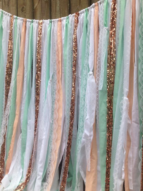 Mint Peach Copper Backdrop Sequin Garland Rose Quartz Wedding Backdrop Rose Gold Pantone 2016 Rose Quartz by ChangesByNeci #RoseQuartz