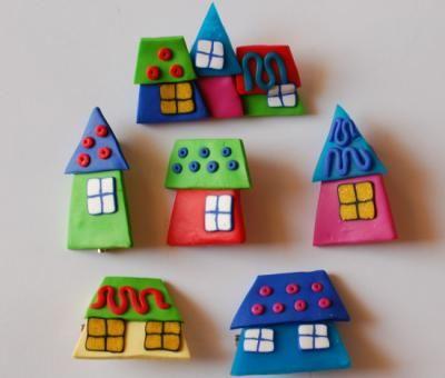 casitas broche fimo modelado