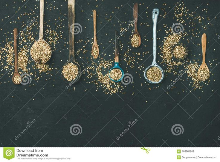 Various Vintage Kitchen Spoons Full Of Green Uncooked Buckwheat Grains Stock Image - Image of cereal, buchweat: 108761203