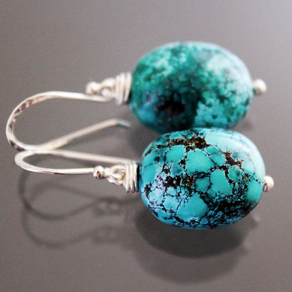Arizona Turquoise Earrings  Natural Spiderweb Turquoise by karioi, $110.00 http://etsy.com/shop/karioi