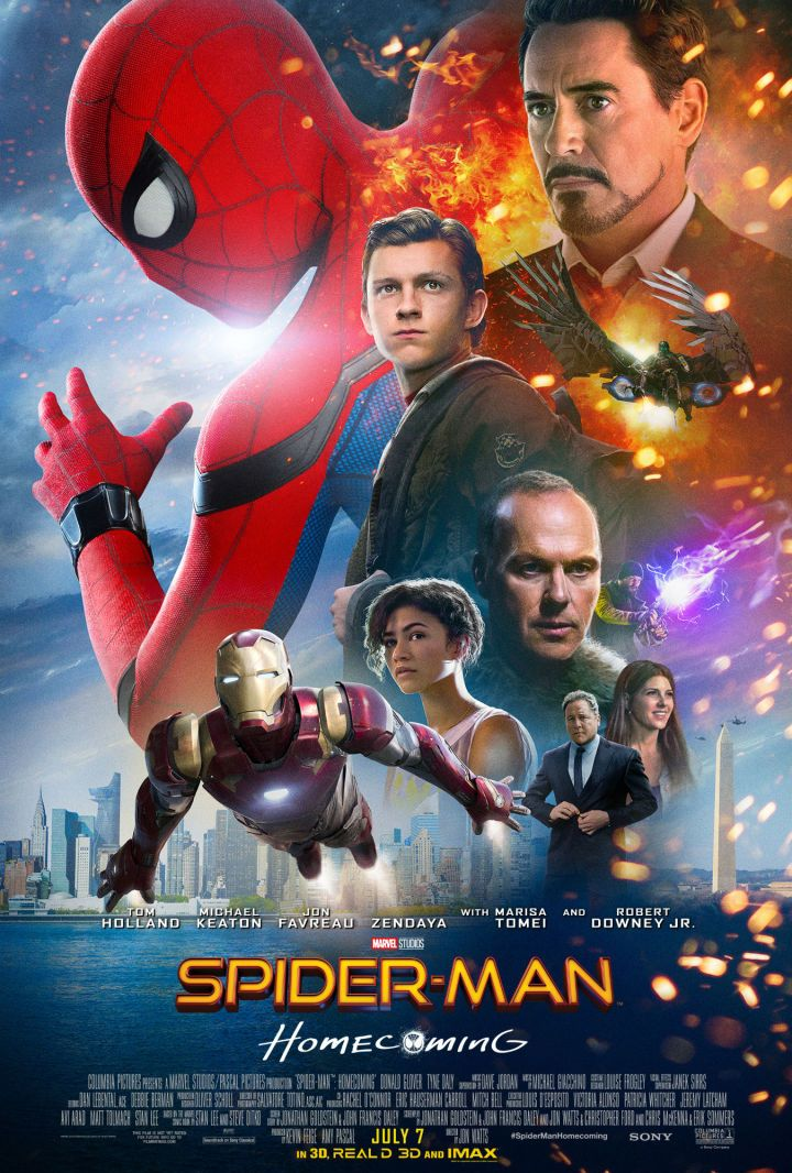 New Spidey Poster Includes Iron Man Vulture  Sony Pictures has released a new domestic poster for their upcoming Marvel movie Spider-Man: Homecoming. And this artwork features many more characters than just the ol' web-slinger.  As you can see in the new poster below this one-sheet includes Robert Downey Jr.'s Tony Stark (and his alter ego Iron Man) Michael Keaton's Vulture Marisa Tonei's Aunt May Parker and Jon Favreau's Happy Hogan as well as Zendaya and Logan Marshall Green's mystery…